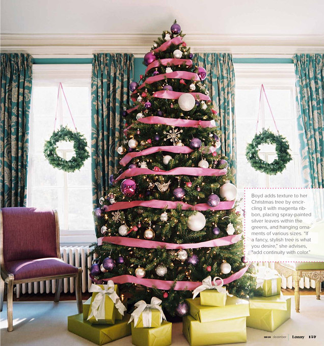 tree via martha stewart i love the ribbon on this tree from the recent issue of lonny magazine darling and sophisticated - How To Put Ribbon On A Christmas Tree Martha Stewart